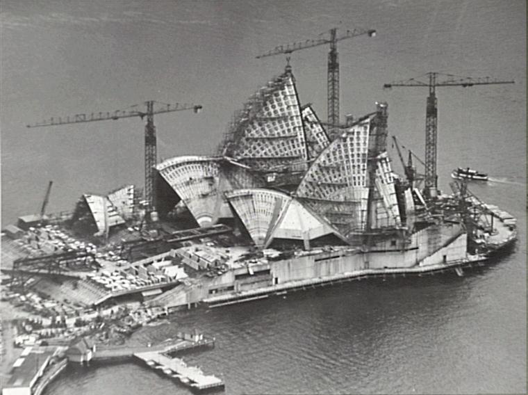Casa de la Ópera en construcción. Sydney 1966. Fuente: City of Sydney Archives