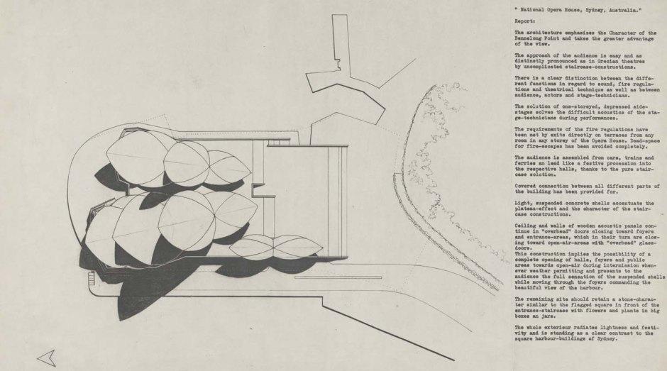 Lámina presentada al concurso de la Casa de la Ópera. 1957.Fuente: NSW Government