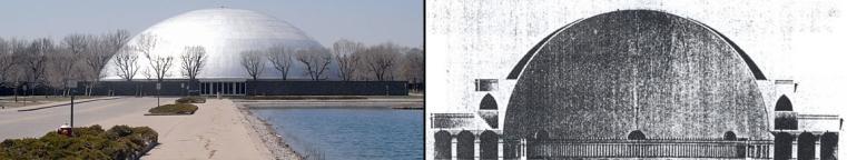 Edificio cúpula Centro Tecnológico GM. Fuente: Bob Lutz // Templo a la Naturaleza y a la Razón. Boullé, c. 1793. Fuente: Julián García González