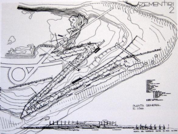 E. Miralles/C. Pinós. Cementerio en Igualada. Propuesta de concurso, 1985. Fuente: El Croquis núm. 30, octubre 1987