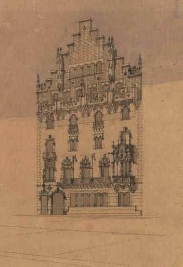 Croquis de fachada, 1898-1900, Josep Puig i Cadafalch. Fuente: ANC