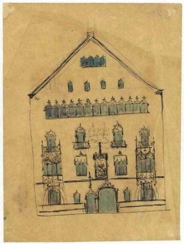 Croquis fachada casa Amatller (1898-1900), Josep Puig i Cadafalch. Fuente: ANC