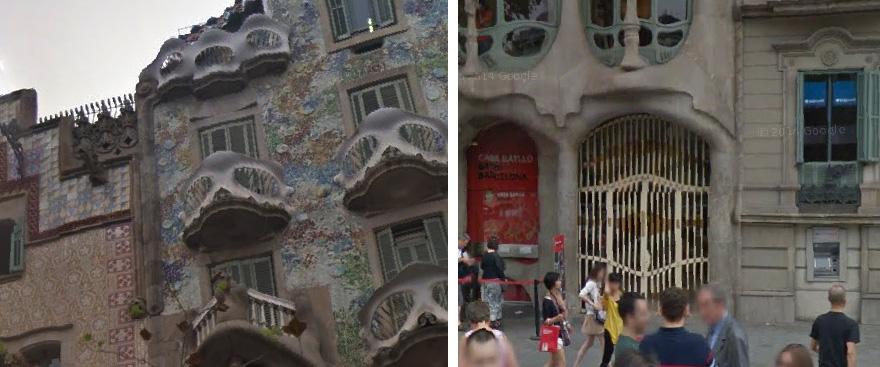 Detalle del cordón de piedra que une las fachadas. Fotografía: Google Maps / G. Carabí