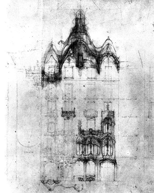 Antoni Gaudí, croquis casa Batlló. Reproducido enTokutoshi Torii, El mundo enigmático de Gaudí, Ed. Instituto de España, 1983, p. 329
