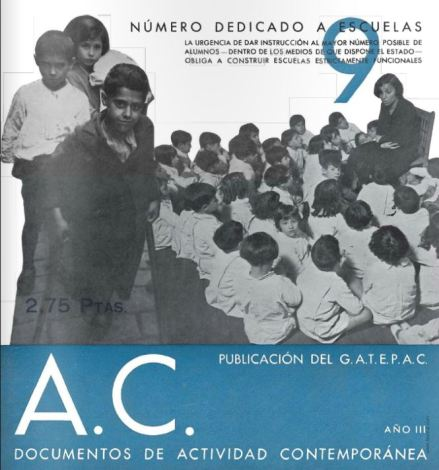 Portada de la revista A.C. núm 9. Fuente: http://www.numerossueltos.com/revistas/ac/ac-documentos-de-actividad-contemporanea-09.html