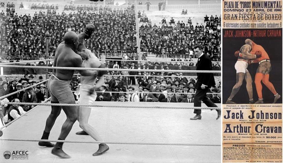 Combate de boxeo entre Arthur Cravan y Jack Johnson, 1916, Plaza Monumental, Barcelona. Fuente: Arxiu Fotogràfic del Centre Excursionista de Catalunya, AFCEC