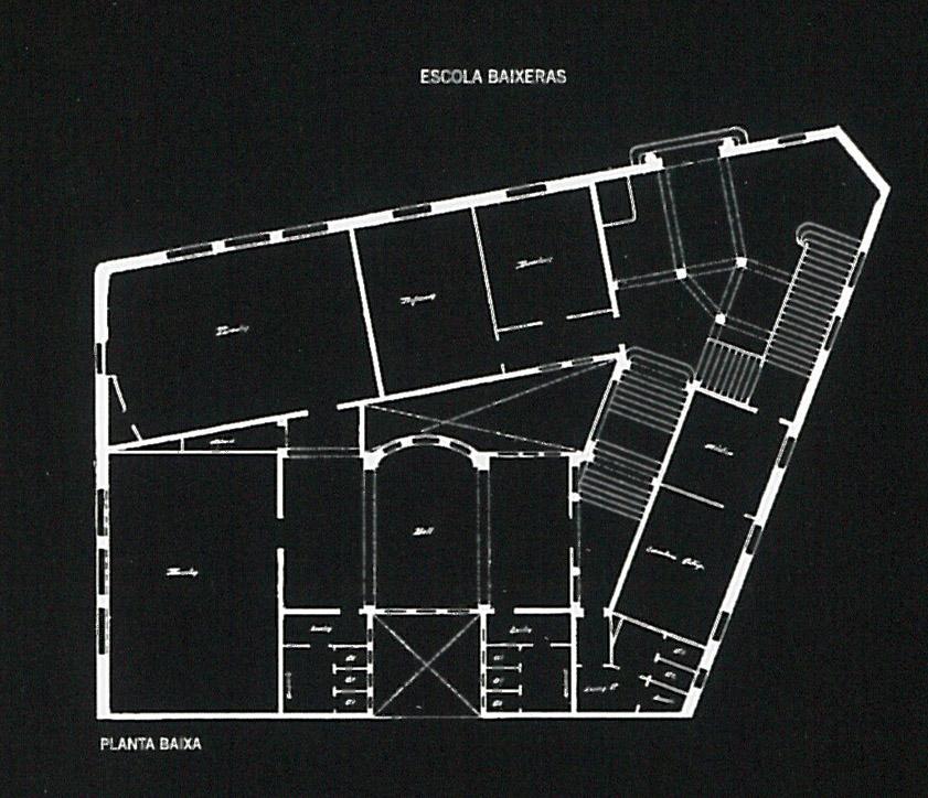Planta Baja del Grupo Escolar Baixeras. Fuente: Albert Cubeles Bonet y Marc Cuixart Goday, Josep Goday Casals. Arquitectura escolar a Barcelona. De la mancomunitat a la República, Barcelona, 2008