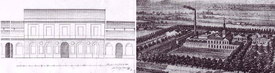 Alçat façana Can Ricart. Oriol Bernadet, 1853. Gravat conjunt fabril Can Ricart. Catelucho, 1888.